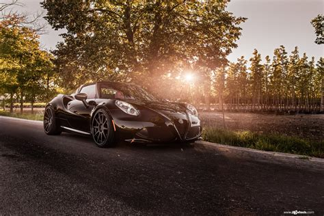 Mysterious Black Alfa Romeo 4c Fitted With With Custom
