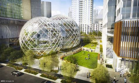 casa siege social nbbj proposes five biodome for amazon 39 s seattle