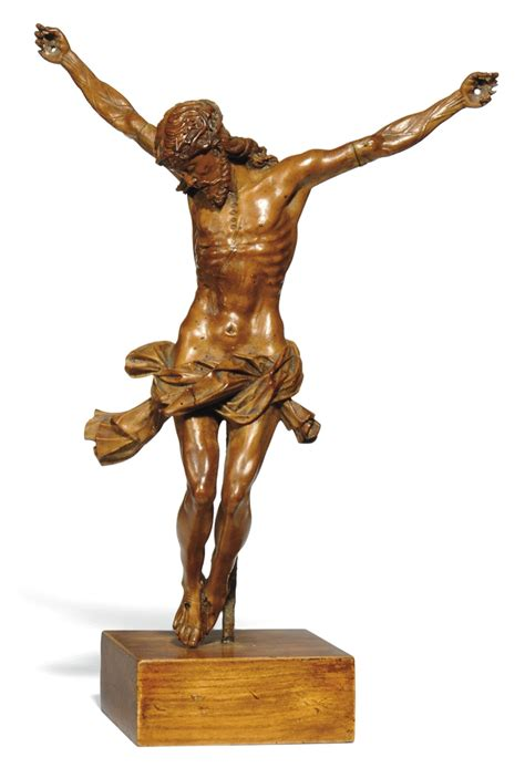 german carved wood crucifix figure  century