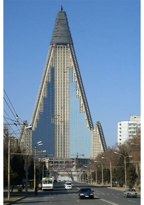 ryugyong hotel bizarre symbol  north korea