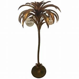 Palm tree floor lamp light brass gold tropical palm beach for Tropical floor lamps gold palm