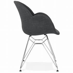 Chaise Pied Chromé : chaise design style industriel tom en tissu pied m tal chrom gris fonc ~ Teatrodelosmanantiales.com Idées de Décoration