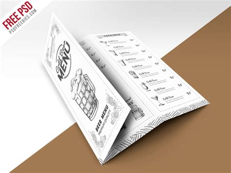 Trifold Brochure Template Free Psd Uxfree Vintage Style Bar Menu Trifold Brochure Psd Template