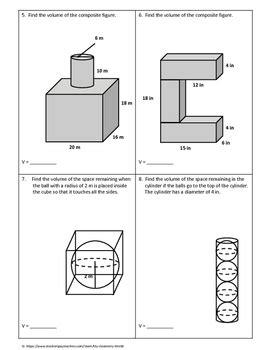 geometry worksheet volume of composite figures by my