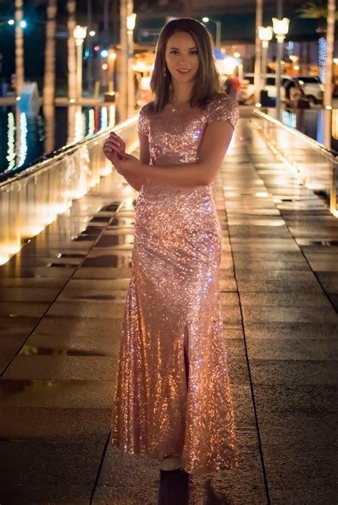 jess modest blush gold sequin gown