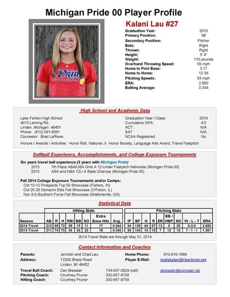 softball player profile template softball profile sheet pictures to pin on pinsdaddy