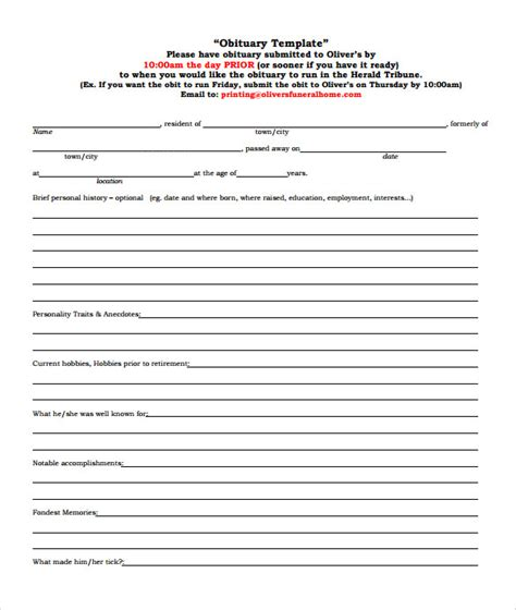 obituary template 13 printable obituary templates sle templates