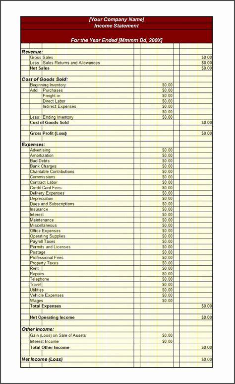 company income statement template sampletemplatess