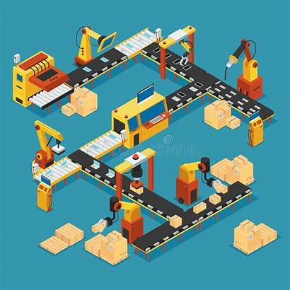 Factory Isometric Template Industrial Production Line Vector