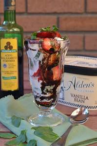 Strawberry Basil Balsamic Ice Cream Sundaes