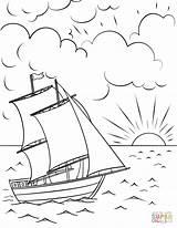 Coloring Sunset Ship Printable Sailing Boats Boat Colorear Colorir Dibujos Sailboat Paisaje Sol Drawing Ships Pintar Dibujo Dibujar Desenho Sheets sketch template