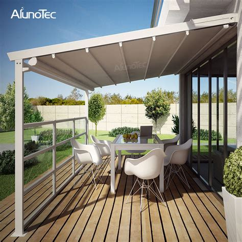 electric awning aluminum pergola pvc retractable roof  led lights buy pvc retractable roof