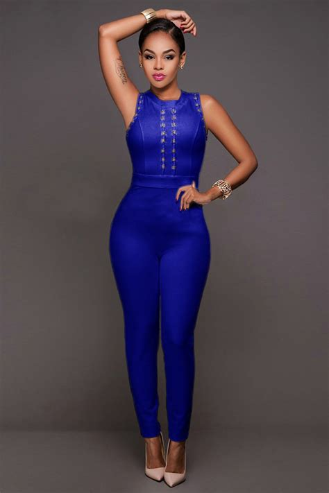 blue jumpsuits stunning blue bandage jumpsuit charming wear