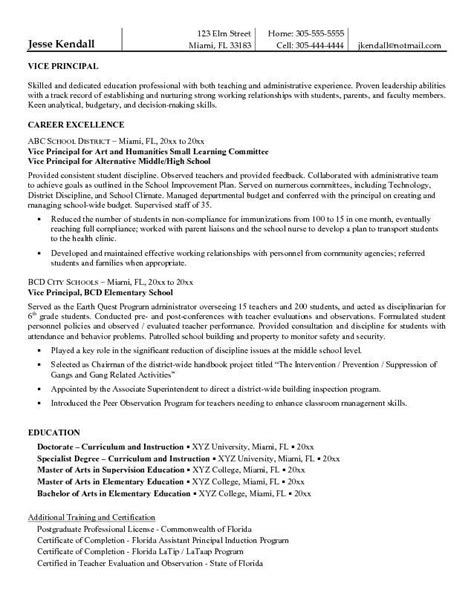 Assistant Principal Cover Letter by Entry Level Assistant Principal Resume Templates Free