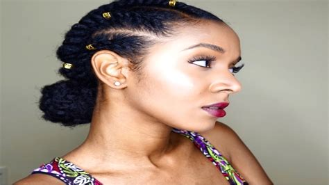 Natural Hairstyles || Flat Twist Protective Style With Low