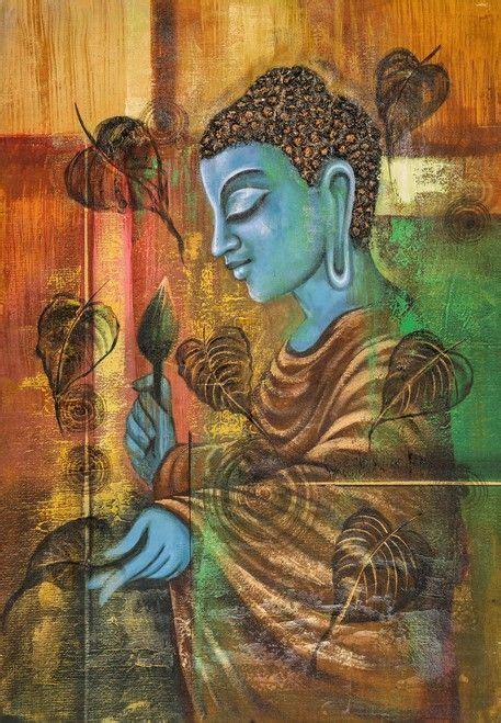blue buddha  pipal leaves handpainted art painting