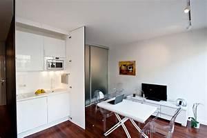 Amenager Studio 15m2 : coin cuisine cach dans un studio contemporain cuisine ~ Melissatoandfro.com Idées de Décoration