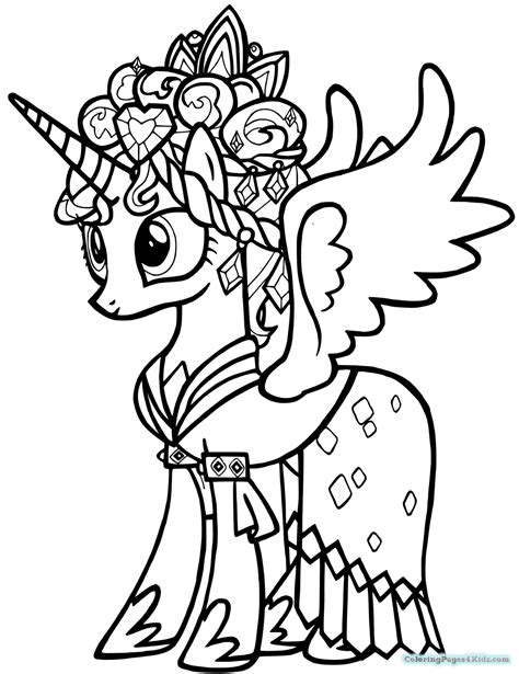 Kleurplaat My Pony Princess by My Pony Coloring Pages Princess Cadence Coloring