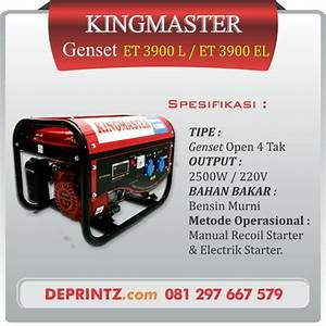 Dijual       Tipe Genset Kingmaster 3900 Sangat Cocok