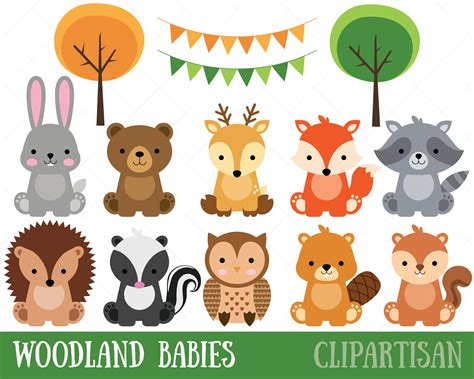 animal clipart woodland baby animals clipart forest animal clipart