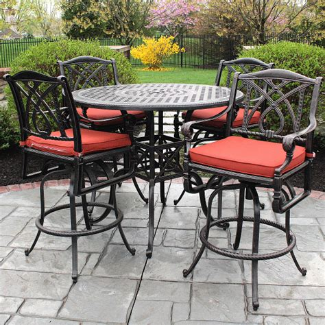 metal patio table and chairs set bar height patio