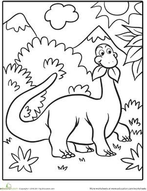 dinosaur worksheet education 495   cute dinosaur coloring page dinosaurs