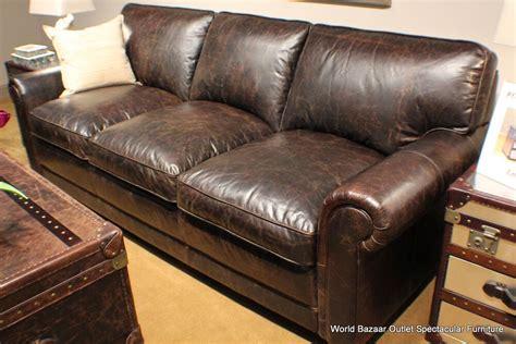 long sofa top grain distressed vintage leather dark