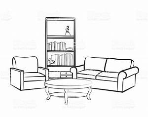 Drawing clipart living room - Pencil and in color drawing ...