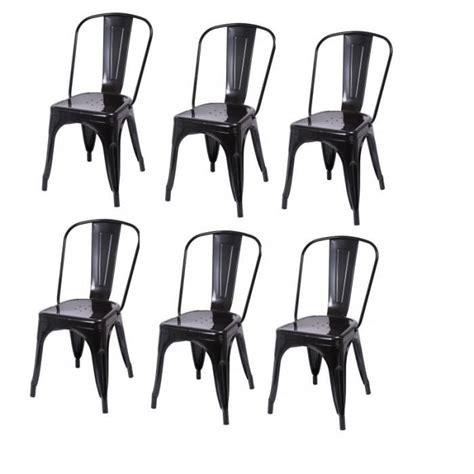 lot de 6 chaises de salle 224 manger style industriel factory m 233 tal noir cds09203 achat vente