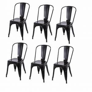 Lot De 6 Chaises Salle à Manger : lot de 6 chaises de salle manger style industriel factory m tal noir cds09203 achat vente ~ Teatrodelosmanantiales.com Idées de Décoration