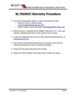 nj transit warranty procedure  template pdffiller