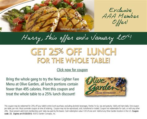 Backyard Promotions by 25 Lunch Olive Garden