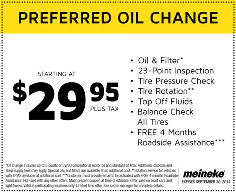 meineke  preferred oil change cheap oil change coupons