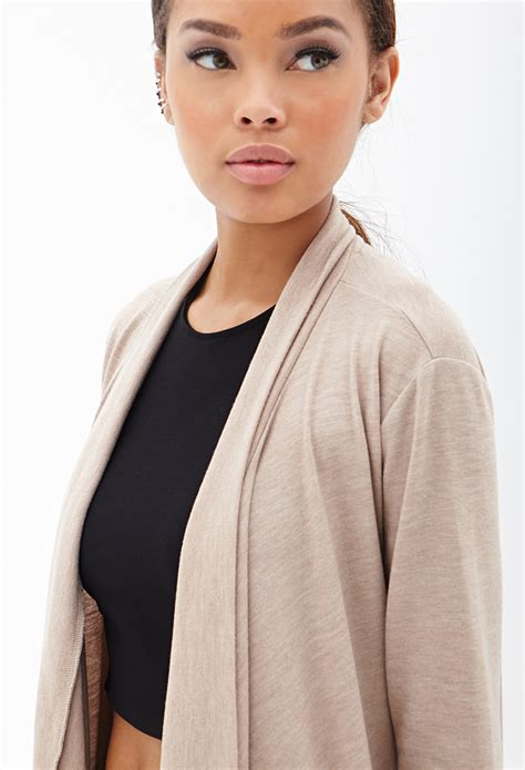knit draped cardigan forever 21 draped knit cardigan in lyst