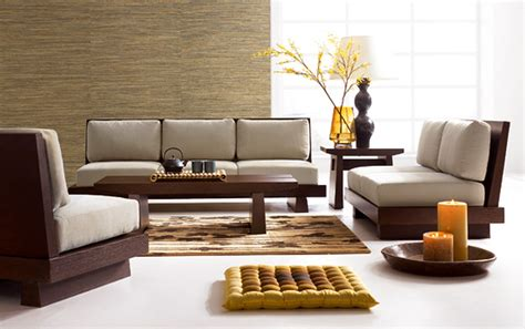 contemporary living room interior design with brown wooden sofa frame of grey upholstered