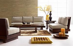 contemporary living room interior design with brown wooden With wooden sofa set designs for small living room