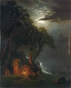 Albert Bierstadt Campfire Site Yosemite painting anysize ...