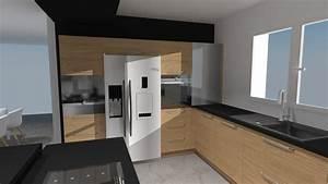 c2 anubis cuisine bois et noir avec frigo americain With cuisine avec frigo americain integre