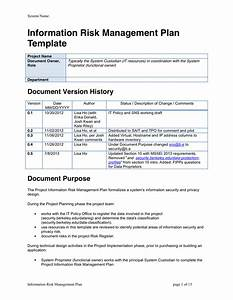 Data Management Policy Template Information Risk Management Plan Template In Word And Pdf Formats