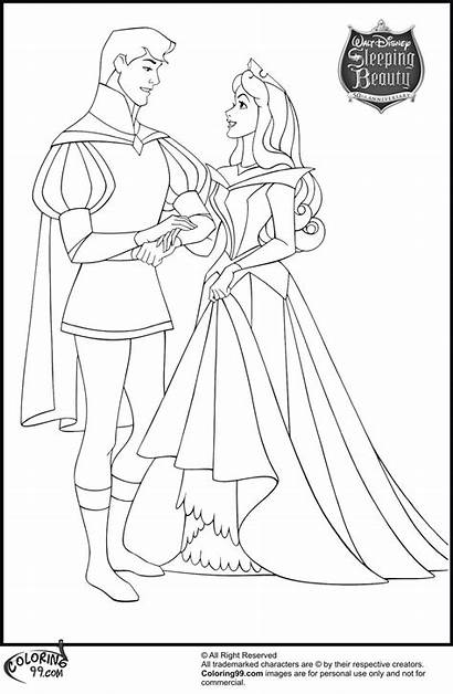 Coloring Disney Aurora Princess Prince Phillip Sleeping