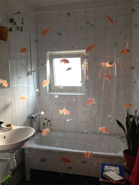 transparent shower curtain spirella goldfish orange ivy