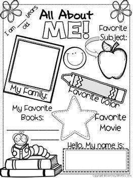 About Me Template For Students by Use This All About Me Sheet As A Beginning Of Year
