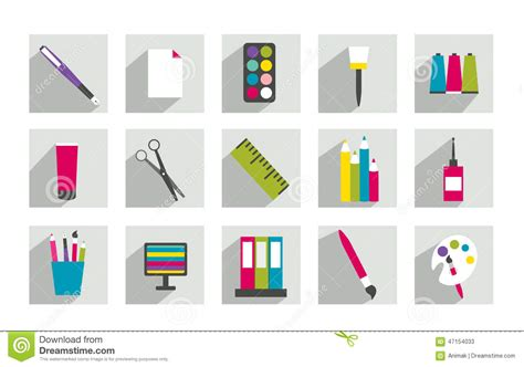 Set Of Work Office Or School Icons. Stock Vector
