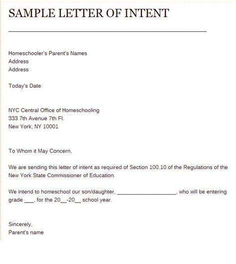 sle of letter of intent to homeschool hs