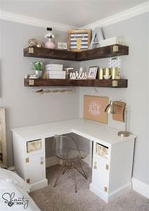 diy floating corner shelves shanty 2 chic With what kind of paint to use on kitchen cabinets for wall art for little girl room