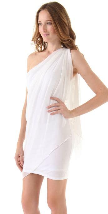 Drape Dress With One Shoulder - chiffon one shoulder drape dress in white
