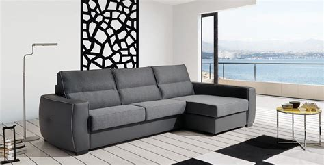Esf Ray Grey Reversible Fabric Leather Sectional Sleeper