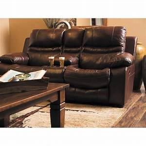 Patton Italian Leather Recline Console Loveseat 0H0 4249