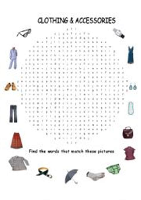worksheets clothing word search