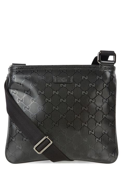 lyst gucci black monogrammed coated canvas messenger bag